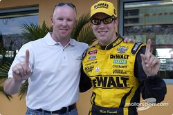 Matt Kenseth celebrates 2003 NASCAR Winston Cup championship with Paul Tracy
