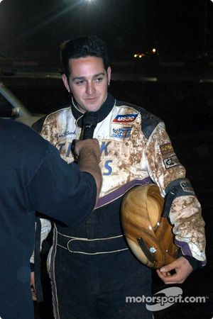 Ronnie Clark recieves his trophy for first in Friday's feature