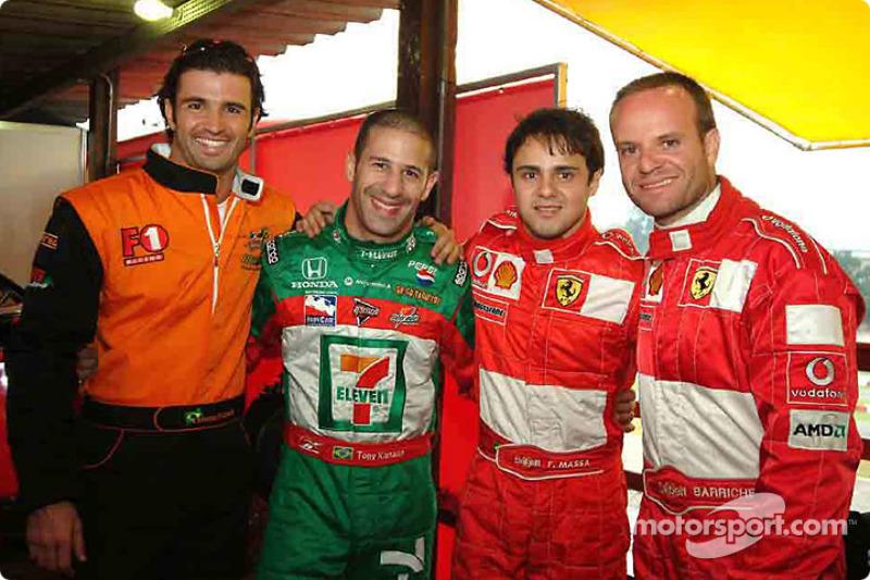 Christian Fittipaldi, Tony Kanaan, Felipe Massa e Rubens Barrichello