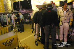 Ron Fellows in Corvette Racing pit area