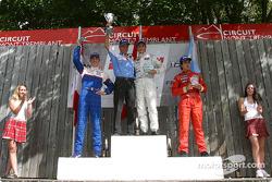 Podium: race winner Andrew Ranger with Juan Martin Ponte and Sean McIntosh