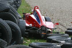 Matt Green in tire wall