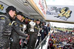Podium: race winners Peter Brock, Greg Murphy, Jason Bright and Todd Kelly celebrate