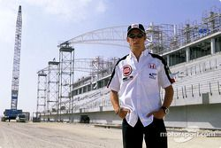 Jenson Button on the Bahrain International Circuit construction site