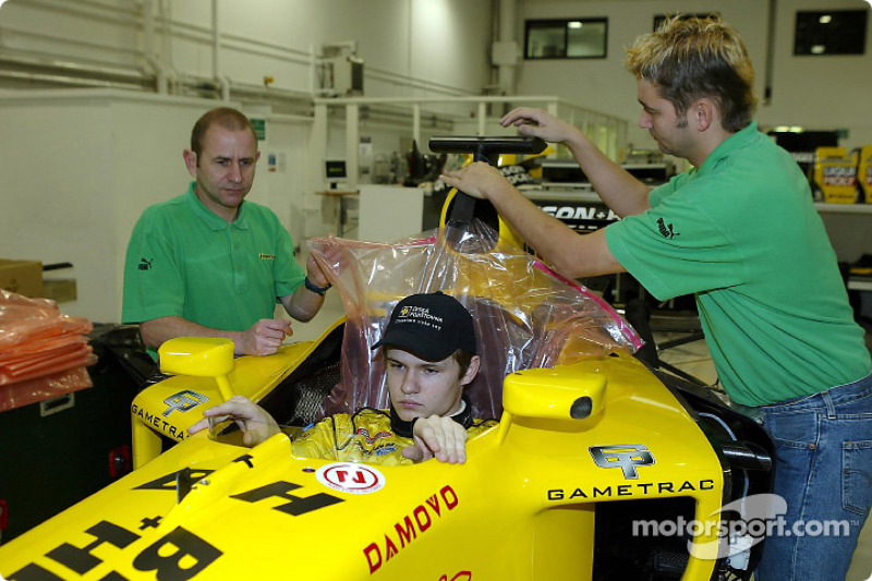 Jaroslav Janis has a seat fitting in the Jordan EJ13 in preperation for his up and coming test with