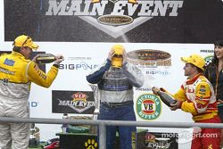 Podium: champagne for Marcos Ambrose, Jason Bright and Max Wilson