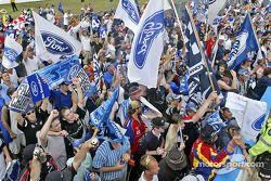 Fans celebrate Marcos Ambrose's championship win