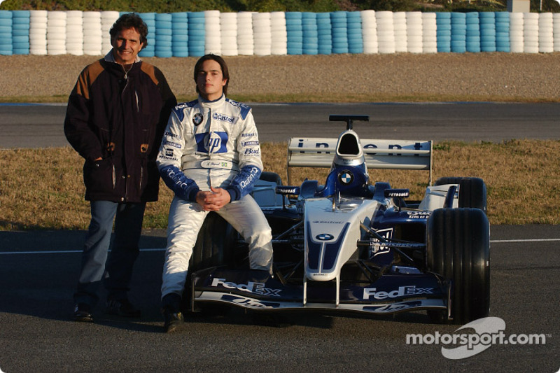 Nelson A. Piquet and father Nelson pose with the WilliamsF1 BMW FW25