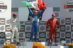 Podium: race winner Memo Rojas with Leonardo Maia and Colin Fleming