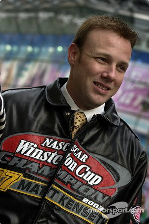 Matt Kenseth with one of his trophys, the Champion's leather jacket