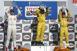 Podium: race winner A.J. Allmendinger with Ryan Dalziel and Aaron Justus