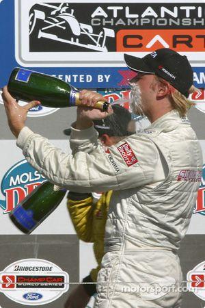 Podium: champagne for Ryan Dalziel