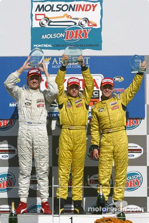Podium: race winner A.J. Allmendinger with Ryan Dalziel and Aaron Justus