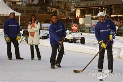 Dr Mario Theissen plays ice hockey