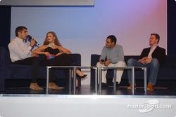 BMW Motorsport party: Barbara Schoeneberger with Ralf Schumacher, Juan Pablo Montoya and Marc Gene