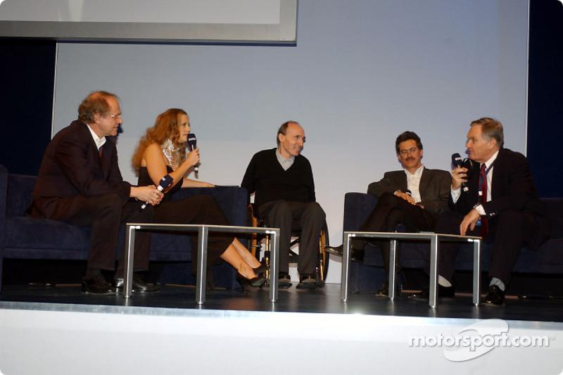 BMW Motorsport party: Prof. Burkard Goeschel, Barbara Schoeneberger, Frank Williams, Dr Mario Theiss