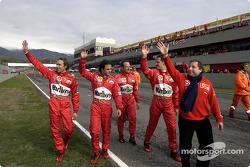Luca Badoer, Felipe Massa, Rubens Barrichello, Michael Schumacher y Jean Todt