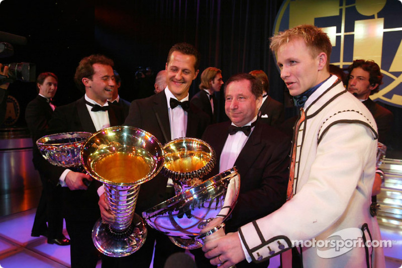 Michael Schumacher, Jean Todt y Petter Solberg