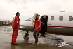 Michael Schumacher arrives at Baccarini airport