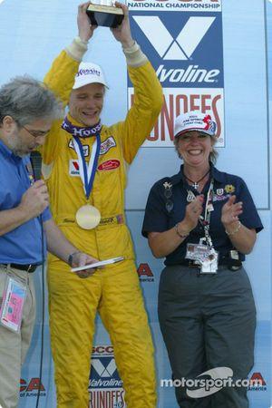 Podium: race winner Rennie Clayton