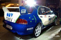 The Mitsubishi Lancer Evo VI of the OMV World Rally Team