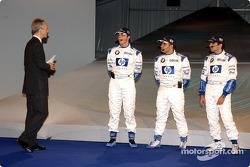 Jonathan Legard mit Ralf Schumacher, Juan Pablo Montoya und Marc Gene