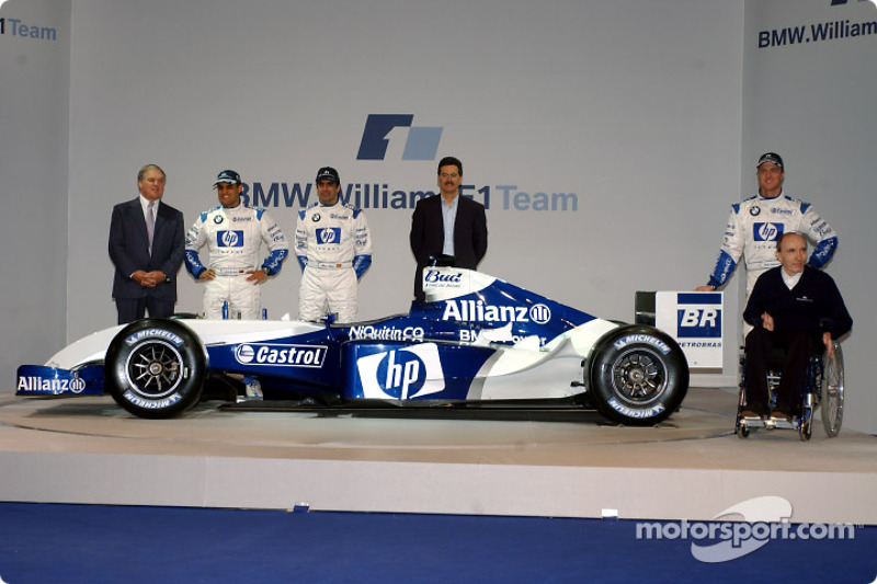 Patrick Head, Juan Pablo Montoya, Marc Gene, Mario Theissen, Ralf Schumacher und Frank Williams