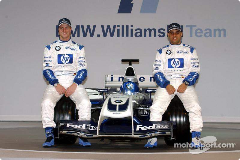 Ralf Schumacher et Juan Pablo Montoya, avec la nouvelle WilliamsF1 BMW FW26