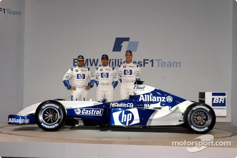 Хуан-Пабло Монтойя, Марк Жене і Ральф Шумахер з новим Williams FW26 BMW