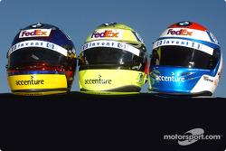 Die Helme von Juan Pablo Montoya, Ralf Schumacher und Marc Gene