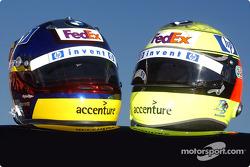 Die Helme von Juan Pablo Montoya und Ralf Schumacher
