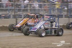 California's Thomas Meseraul (13) and Danny Lasoski (20) pace Wednesday night's 25-lap qualifying feature at the 18th Annual O'Reilly Chili Bowl Nationals