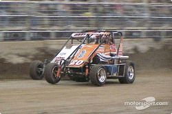 Danny Lasoski battles past Davey Ray on the 37th round for second and sets his site on the Kruser in Saturday night's 18th Annual O'Reilly Chili Bowl Midget Nationals