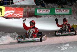 Kart race: Michael Schumacher and Rubens Barrichello
