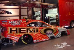 First look at Gary Scelzi's all-new HEMI Oakley Dodge paint scheme as the car prepares to embark from Don Schumacher Racing's Indianapolis race shops on a Dodge-sponsored promotional tour
