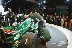 Mark Webber and team members get ready to test the new Jaguar R5