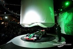 Mark Webber and Christian Klien watch as the new Jaguar R5 is being unveiled