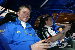 Petter Solberg and Anthony Davidson in Subaru at Autosport International