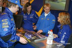 Petter Solberg signing autographs on Prodrive stand at Autosport International