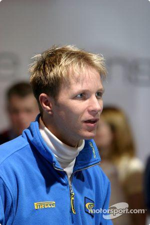 Petter Solberg on Prodrive stand at Autosport International