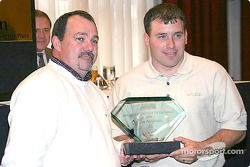 National Motorsports Press Association Annual Convention, Charlotte, NC: president Kenny Bruce presents Ryan Newman with the driver of the year award