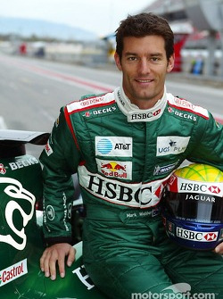 Mark Webber pose with the new Jaguar R5