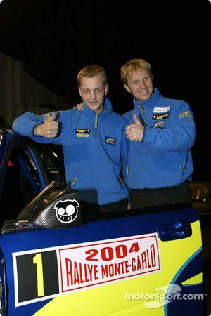 Les pilotes Subaru Petter Solberg et Mikko Hirvonen à la conférence de presse Subaru