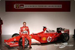 Rubens Barrichello with the new Ferrari F2004