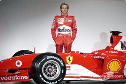 Luca Badoer with the new Ferrari F2004