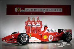 Rubens Barrichello, Luca Badoer and Michael Schumacher with the new Ferrari F2004