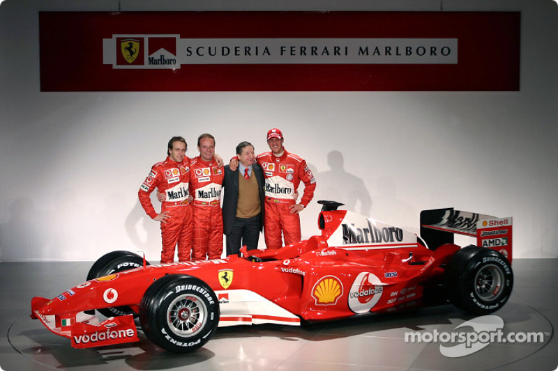 Лука Бадоер, Рубенс Баррікелло, Жан Тодт, Міхаель Шумахер і Ferrari F2004