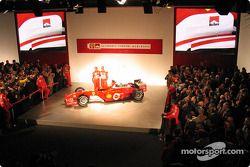 Rubens Barrichello and Michael Schumacher on stage