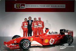 Luca Badoer, Luca di Montezemelo, Rubens Barrichello and Michael Schumacher with the new Ferrari F20