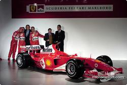Michael Schumacher, Luca Badoer, Luca di Montezemelo, Rubens Barrichello, Jean Todt and Piero Ferrar